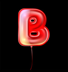 Red metallic balloon inflated alphabet symbol b vector