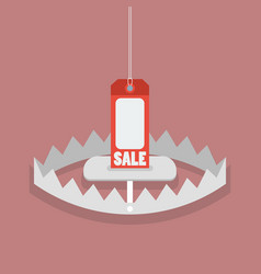 Sale tag in bear trap vector