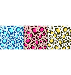 Seamless leopard pattern in different colors vector