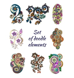 Set of Henna Paisley Mehndi Doodle Element vector image