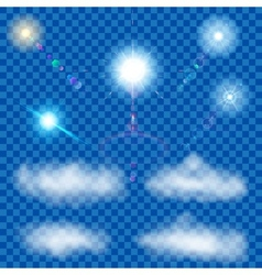 Set of transparent suns and clouds vector image