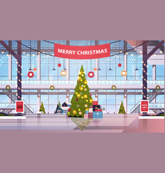 Shopping mall center with decorated fir tree vector