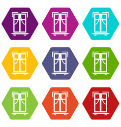 Sill window frame icons set 9 vector