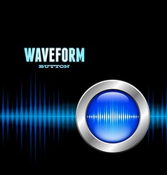 Silver button with sound waveform sign vector