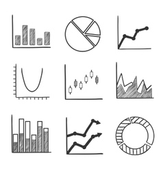 Sketch style icons of business charts and graphs vector