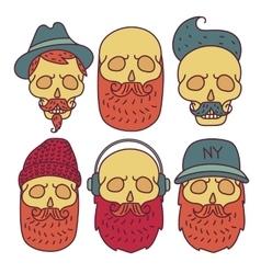 Skull hipster Hand Drawn vector image