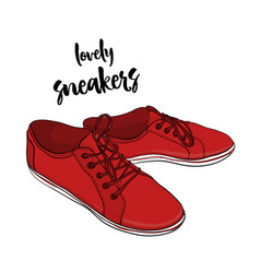 Sneakers in cartoon style hand vector