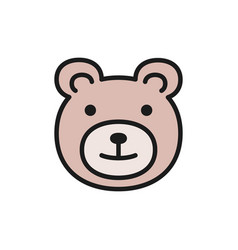 teddy bear children toy flat color icon vector image