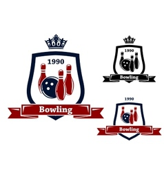 Three bowling badges or emblems vector