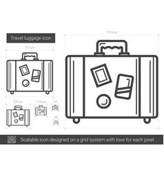 Travel luggage line icon vector