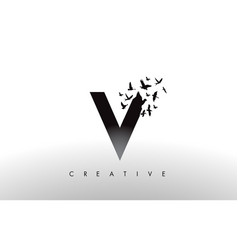 V logo letter with flock of birds flying and vector