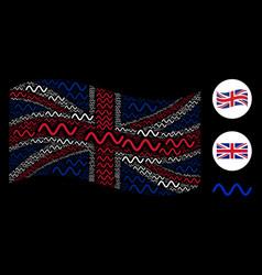 Waving british flag mosaic of sinusoid wave items vector