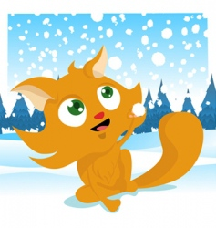Winter cat vector