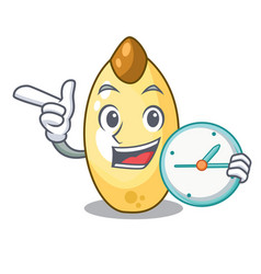 With clock character brown cedar nut fruit on vector