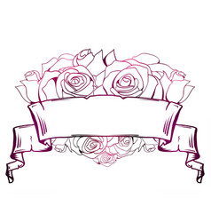 with curled parchment heart roses frame with vector image