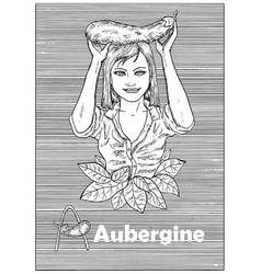 Young beautiful woman holding aubergine vegetable vector