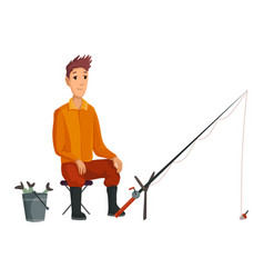 young fisherman seating with fish rod and wait vector image