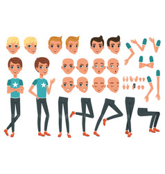 Young man character constructor with body parts vector