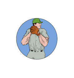 Baseball pitcher starting to throw ball circle vector