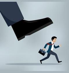 businessman under a big shoe vector image