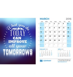 Desk Calendar for 2016 Year March Stationery vector image