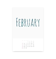 February 2017 Calendar Page vector image