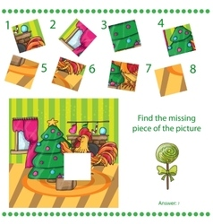 Find missing piece - Cartoon cock with tree vector image vector image