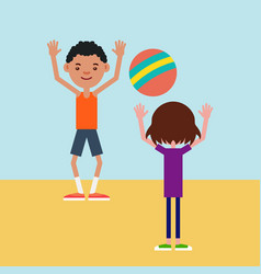 kids playing ball on a sports field vector image