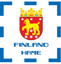 national ensigns flag and emblem of finland - hame vector image vector image
