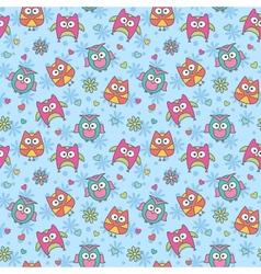 pattern of cartoon owls vector image