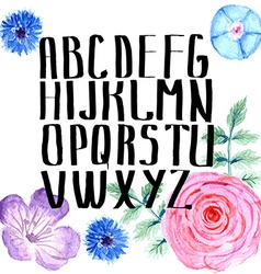 Watercolor alphabet with flowers in vintage style vector image