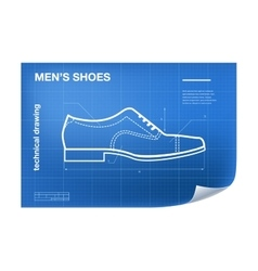 Wireframe with shoe drawing on the vector image vector image