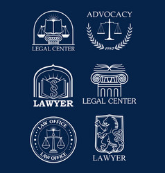 Advocacy or lawyer legal icons set vector