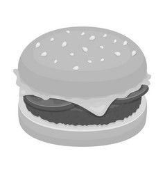 burger with cutlet and slabom bar food with beer vector image