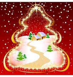 Christmas tree illustration vector image vector image
