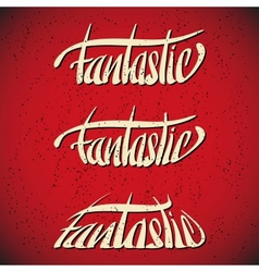 Fantastic greetings hand lettering set vector image vector image