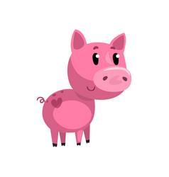 pink funny cartoon baby piglet cute little piggy vector image
