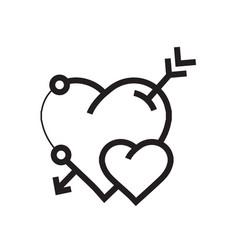 arrow on heart icon vector image vector image
