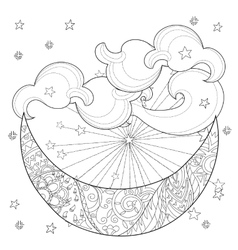 Christmas half moon with stars vector