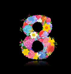 Fun number of fancy flowers on black background 8 vector image