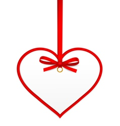 Heart with red ribbon vector image vector image