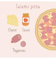 Salami pizza ingredients vector image