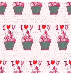 Seamless pattern made of hand drawn cupcakes vector image vector image
