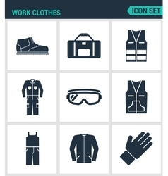 Set of modern icons Work clothes shoes vector image