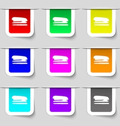 Stapler and pen icon sign set of multicolored vector