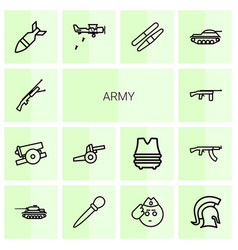 14 army icons vector