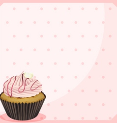 A polka dot stationery with a cupcake vector