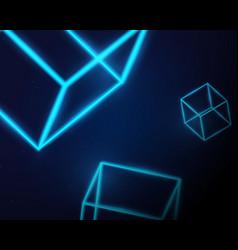 abstract blue neon light 3d box shape on dark vector image