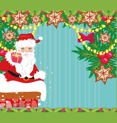abstract christmas card with santa claus vector image