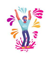 bearded man having fun throwing colorful splashes vector image